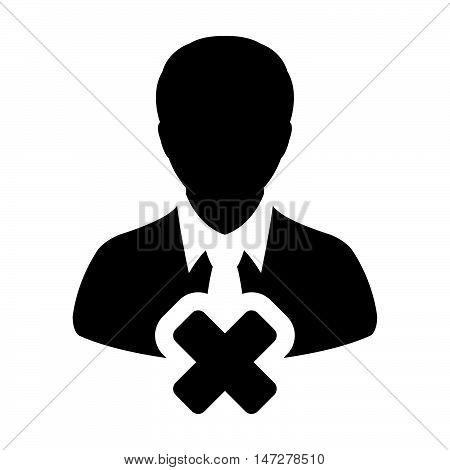 Delete User Icon - Man, Human, Profile, Businessman, Avatar, Person Glyph Vector illustration