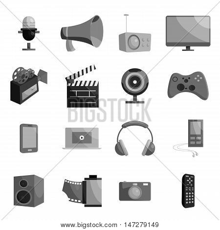 Audio and video set in black monochrome style. Multimedia set collection vector illustration