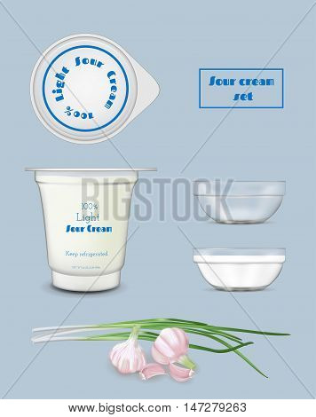 White food plastic container for yogurt and sour cream. Transparent mockup template.