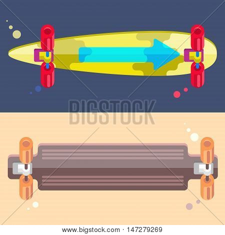 Vector Illustration of Longboards. Colorful Illustration of Flat Longboards. Flat Isolated Longboards.