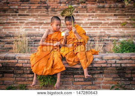 Two novice novices are looking and playing smartphone with funny in old temple at sunset time Ayutthaya Province Thailand