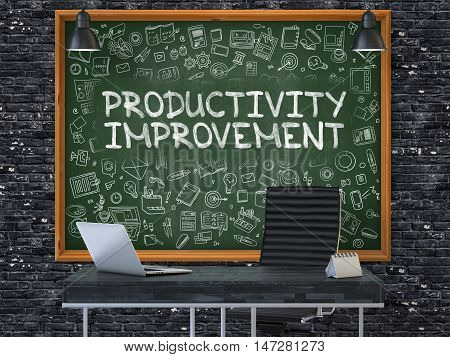 Productivity Improvement - Hand Drawn on Green Chalkboard in Modern Office Workplace. Illustration with Doodle Design Elements. 3D.