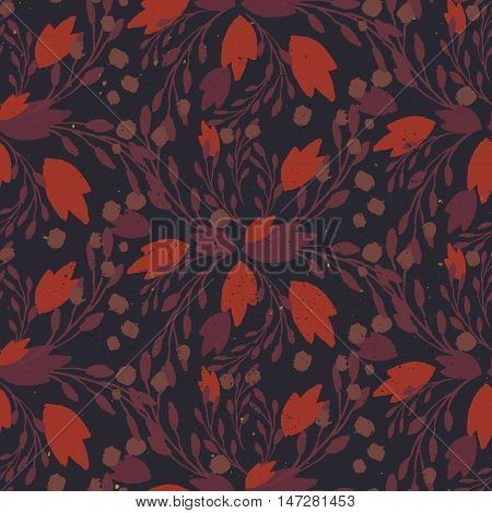 Organic Floral Pattern In Muted Warm Colors