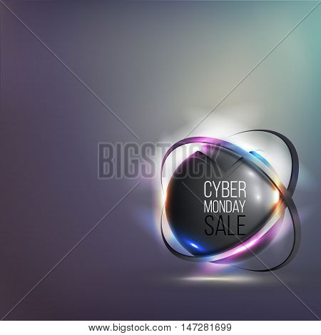 Banner for cyber monday sale with bright glowing 3D sphere. Vector illustration