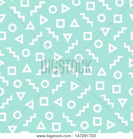 Geometric seamless pattern consisting of different figures. White geometric shapes - square, triangle, zig-zag and circle on the turquoise background.