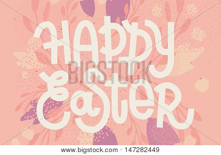 Happy Easter, Muted Pastel Pink Greeting Card With Custom Lettering