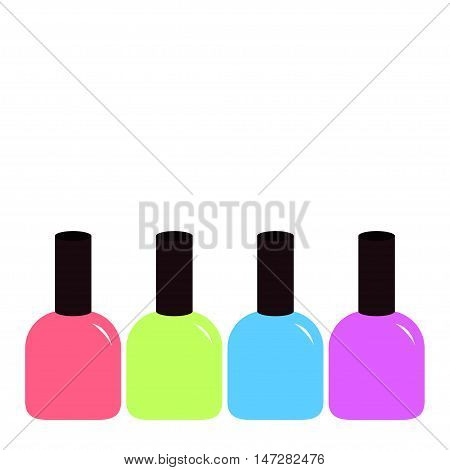 Pink blue violet green nail polish varnish icon set White background Isolated Fashion Template Flat design. Vector illustration