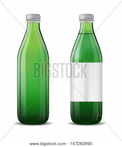 Green glass beer bottle on white background.