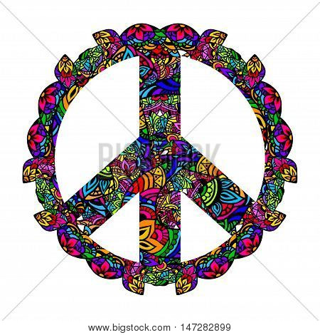 Hippie style. Groovy Ornamental of colorful retro peace sign 60s 70s. Vector illustration