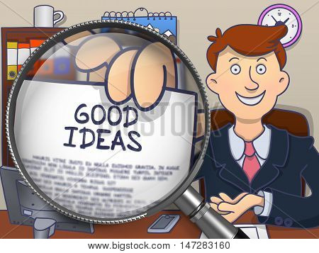 Good Ideas on Paper in Man's Hand through Lens to Illustrate a Business Concept. Multicolor Modern Line Illustration in Doodle Style.