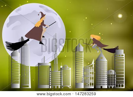Vector Illustration Of A Witch Flying Over The City On Broomsticks On A Moonlit Night In Halloween C