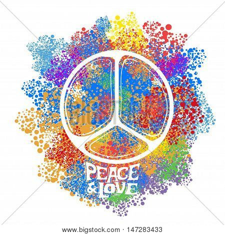 Abstract vector illustration Hippie Symbol over colorful background. Idea Peace Freedom Love antiwar Spirituality. Vector illustration for t-shirt print over