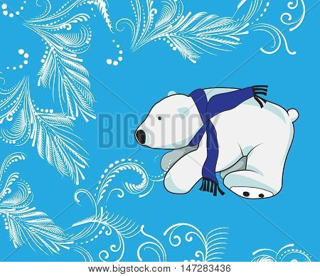White Polar bear in the scarf on the neck. Vector illustration. frosty pattern