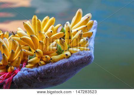 Banana on the boat at Damnoen Saduak floating market in Ratchaburi near Bangkok Thailand