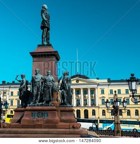 central monument on Senate Square in Helsinki