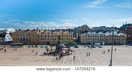 Senate Square in the center of Helsinki in the afternoon of the day