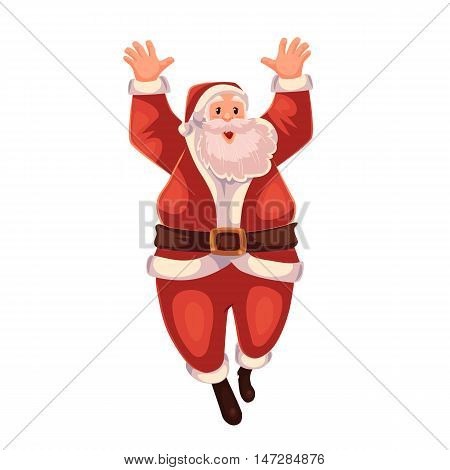 Santa Claus jumping in delight, cartoon style vector illustration isolated on white background. Full length portrait of Santa jumping in delight, Christmas decoration element