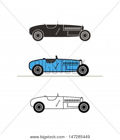 Retro sport racing car vintage collection, classic garage sign, vector illustration background, can be used for design card infographics