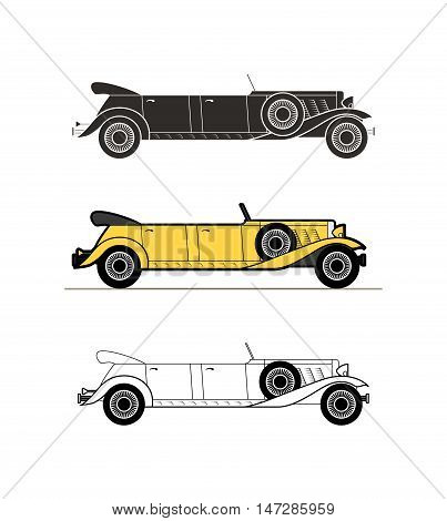 Retro limousine car vintage collection, classic garage sign, vector illustration background, can be used for design card infographics