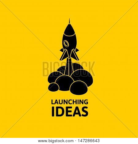 Yellow rocket and white cloud, icon in flat style isolated on yellow background, conceptual of start up new business project, take off of a business or project or extraterrestrial travel vector illustration