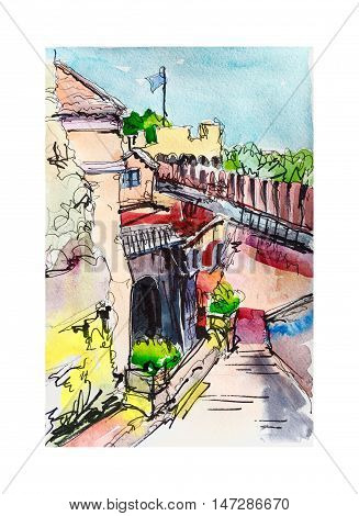 original watercolor freehand illustration of fortress of Sant'Angelo in Rome, Italy