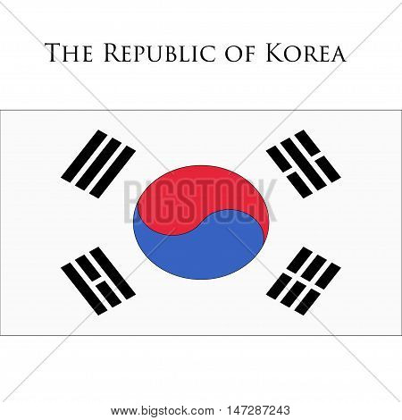 Flag of Korea against white background. Vector illustration