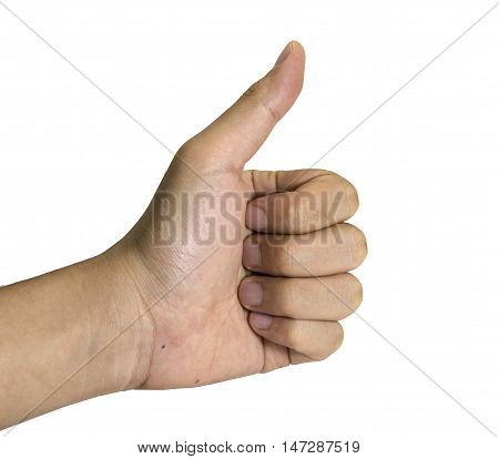 thumbs up man hand for bussiness on white background/isolated.