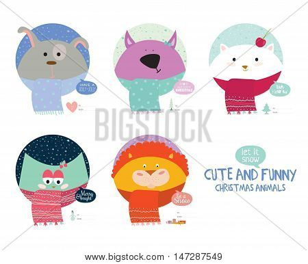 Happy New 2017 Year and Merry Christmas Set. Cute and Funny Animals wrapped in a scarf congratulates all of the holidays. Circle cut. Good for greeting card, holidays poster, labels or banners.