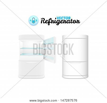 Modern refrigerator isolated on white background, vector illustration