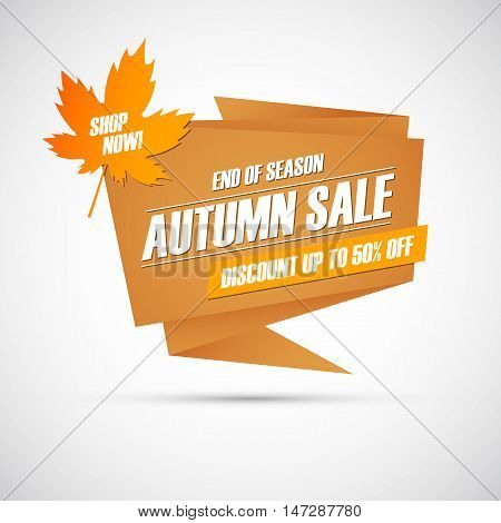 Autumn Sale. Special offer banner, discount up to 50% off. End of season. Shop now! Vector illustration.
