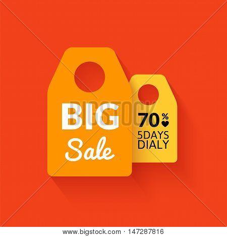 Flat big sale badge, vector poster with percent