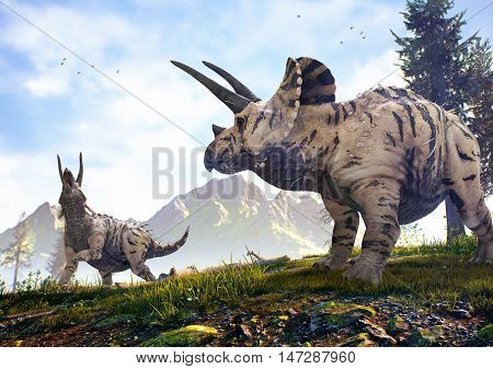 3D rendering of two Triceratops in Hell Creek about 67 million years ago.