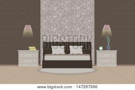 Bedroom interior. Modern bedroom interior with furniture. Flat style vector illustration
