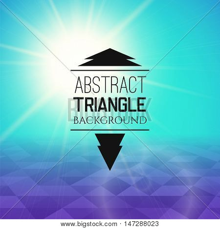 Abstract cyan sunset with purple triangle field, perspetive pattern in sunny fog, geometrical vibrant multicolored vector background illustration