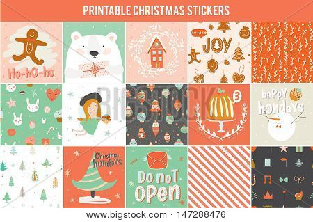 Collection of 15 Christmas gift tags and cards templates. Christmas beautiful cheerful posters set. Lovely winter invitations with cartoon and character style illustration.