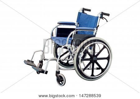 blue wheel chair isolated on white background