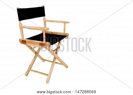 wooden director chair isolated on white background