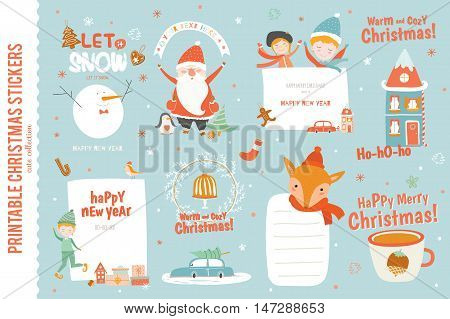 Cute Christmas cards, labels and stickers with Santa Claus, fox, elf, friends and a lot of holiday symbols. Lovely winter invitations in cartoon and character style with place for text.