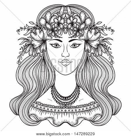 Portrait of gypsy woman with flower around head. Boho style fashion. Vector illustration.