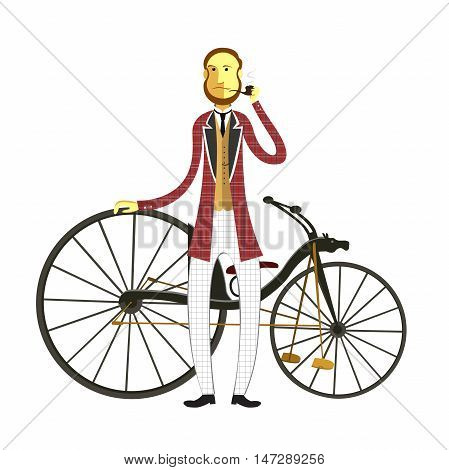 Vintage Retro Bicycle flat cartoon vector illustration. Eps10. Isolated on a white background.