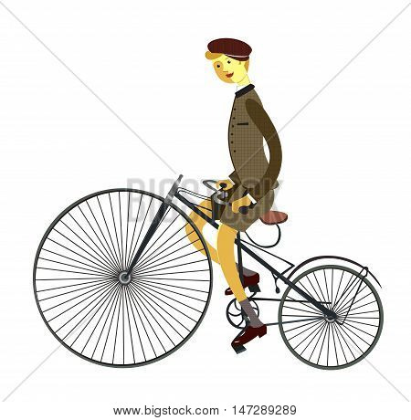 Gentleman cyclist in a flat style. Elegant man riding on a old bicycle. Retro bicycle. Vector illustration.