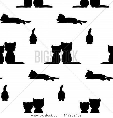 Seamless pattern wirh cats.Vector flat illustration for print.