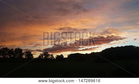 European sunset/The romantic and colourful skies above evening landscape.
