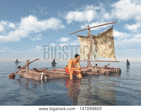 Computer generated 3D illustration with a man on a raft surrounded by sharks