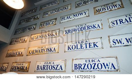 POLAND, KRAKOW - SEP 02, 2016: Exhibition on the theme of life Krakow Jews during the Second World War. Schindler's Factory Museum in Krakow.