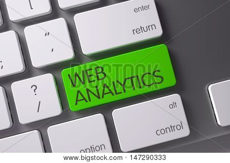 Web Analytics Concept Aluminum Keyboard with Web Analytics on Green Enter Button Background, Selected Focus. 3D Render.