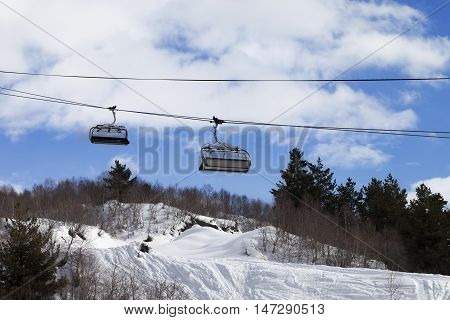 Chair-lift And Off-piste Slope In Ski Resort