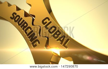 Global Sourcing on Mechanism of Golden Gears with Lens Flare. 3D.