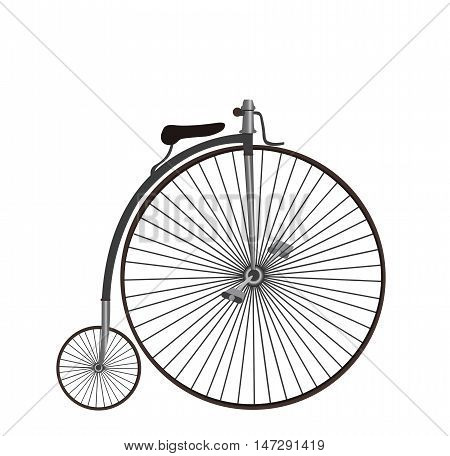 Penny farthing vintage bicycle flat cartoon vector illustration. Eps10. Isolated on a white background.