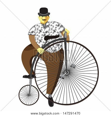 Retro bicycle. Vector illustration flat cartoon. Eps10. Isolated on a white background.
